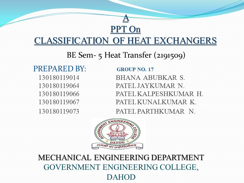 Ppt of heat exchanger.
