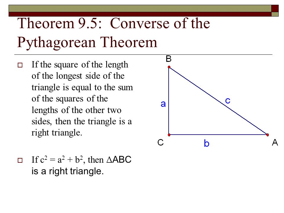 The gallery for --> Converse Of The Pythagorean Theorem