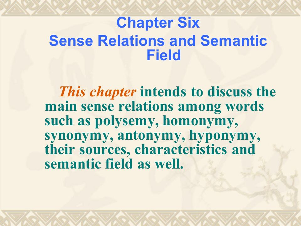 an analysis of the semantic fields and polysemy This thesis investigates the phenomenon of polysemy: a single lexical form with two or analysis in terms of lexical rule application finally, i develop an.