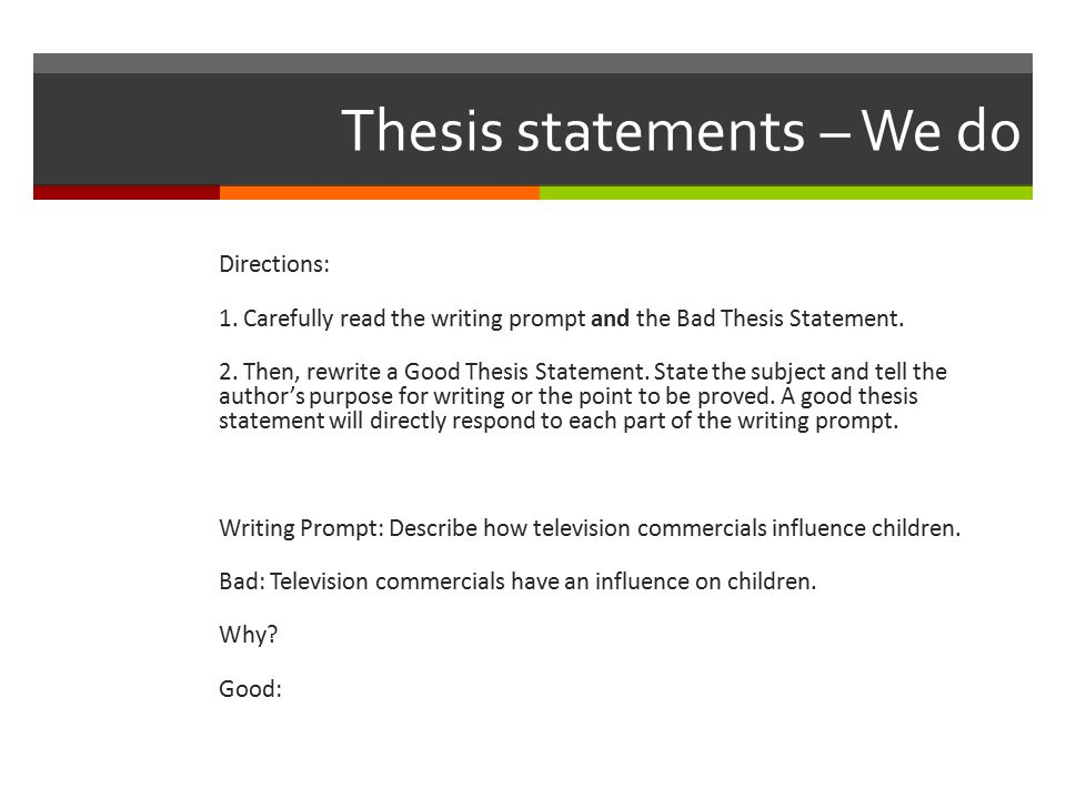 Thesis statement about television advertising