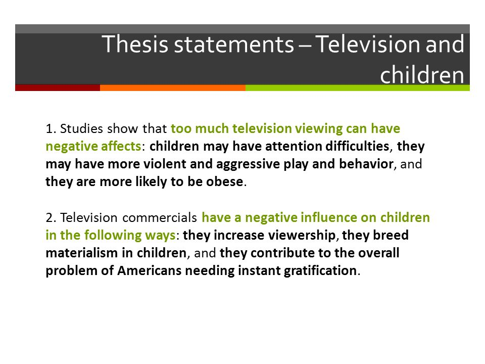 Thesis statement for television