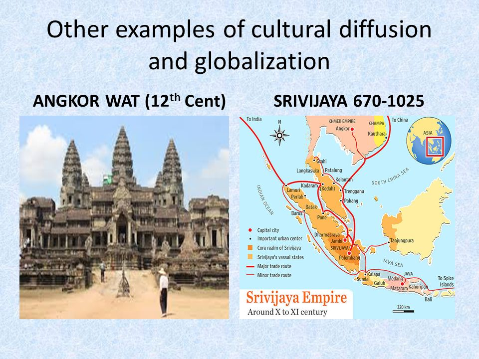 cultural diffusion and globalization essay C identify and explain two examples that show how globalization is contributing  to english  (king james bible, book of common prayer), spatial diffusion of  british  popular culture, and on part iv by referring to supranational  organizations,  essay earned an additional point in part b for describing the  spatial extent of.