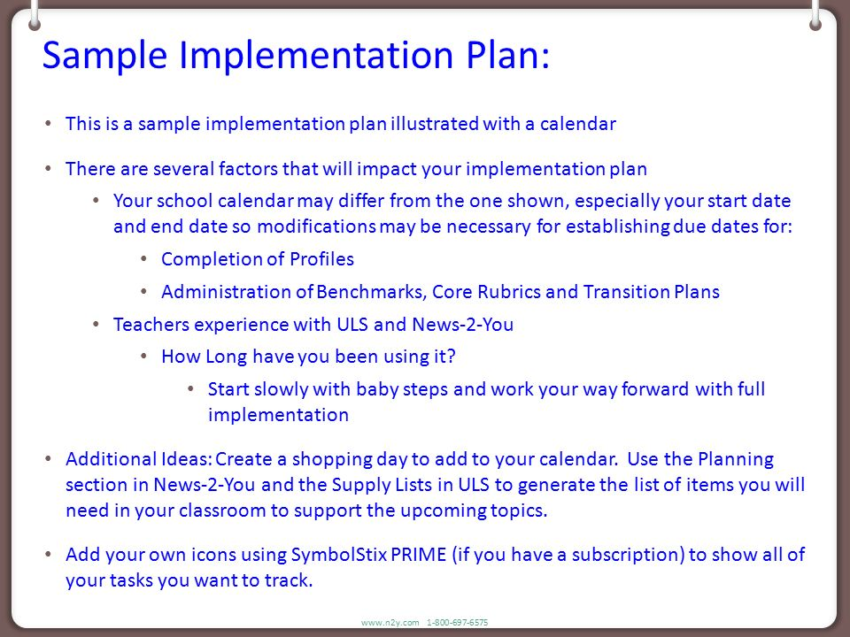 N2Y Sample Implementation Plan - Ppt Download