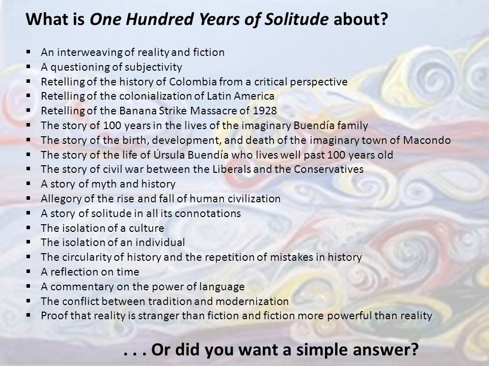 critical essay on one hundred years of solitude Gabriel garcía márquez's one hundred years of solitude: a casebook (oxford,  2002), pp  critical essays on gabriel garcía márquez (boston, 1987), pp.