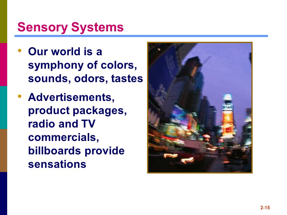 Sensory Systems Our world is a symphony of colors, sounds, odors, tastes.