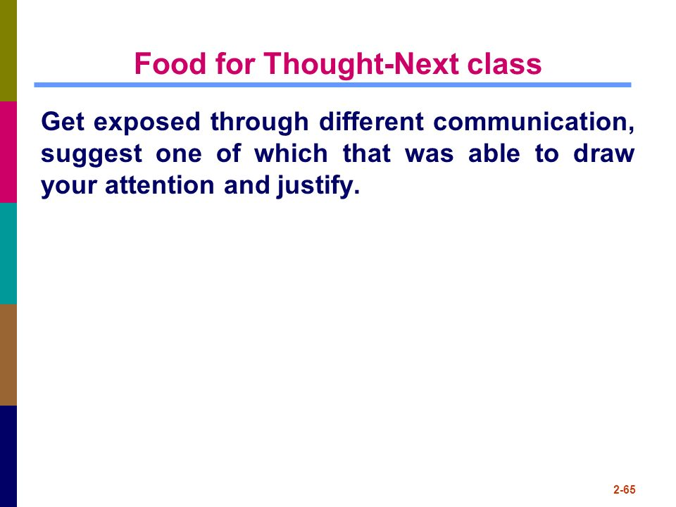 Food for Thought-Next class