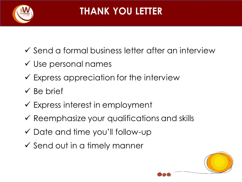THANK YOU LETTER Send A Formal Business Letter After An Interview