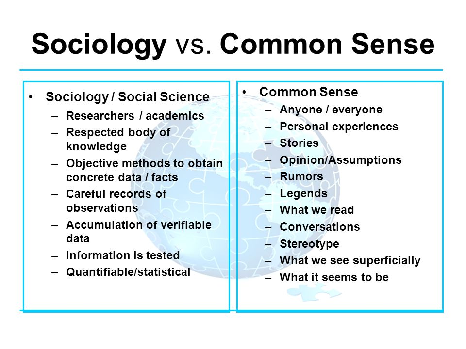 an essay on sociology and its difference from common sense There are many ways in which sociology and common sense differ, starting with the basic fact that sociology is a formal field of academic study, whereas common sense refers to people's innate ability to understand and assess the things they see and hear on a regular basis.