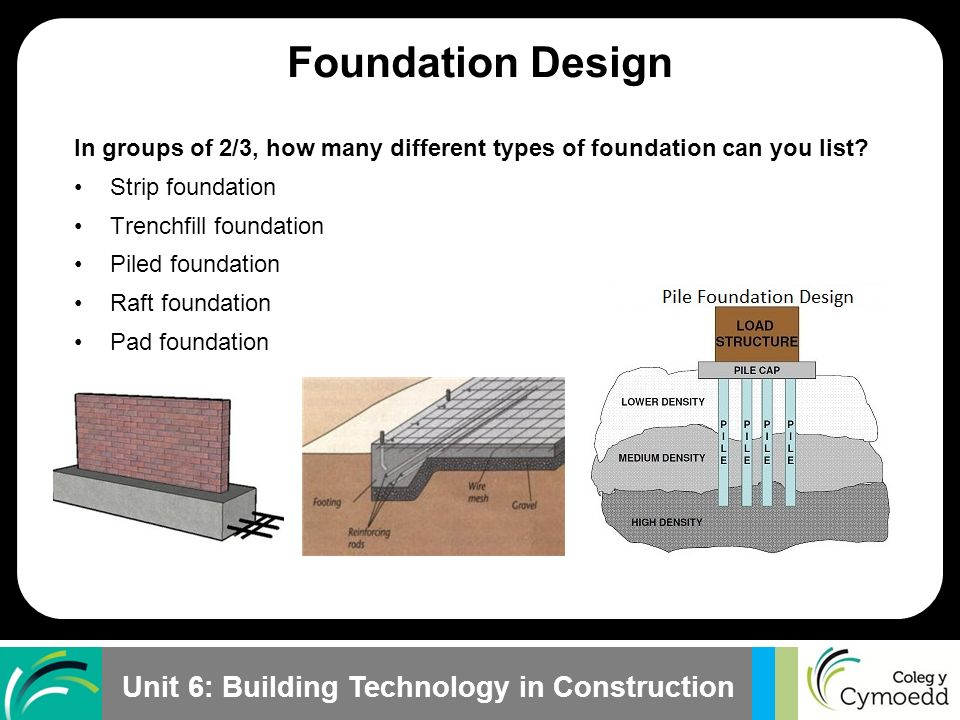 Understand foundation design and construction ppt video for Different foundation types