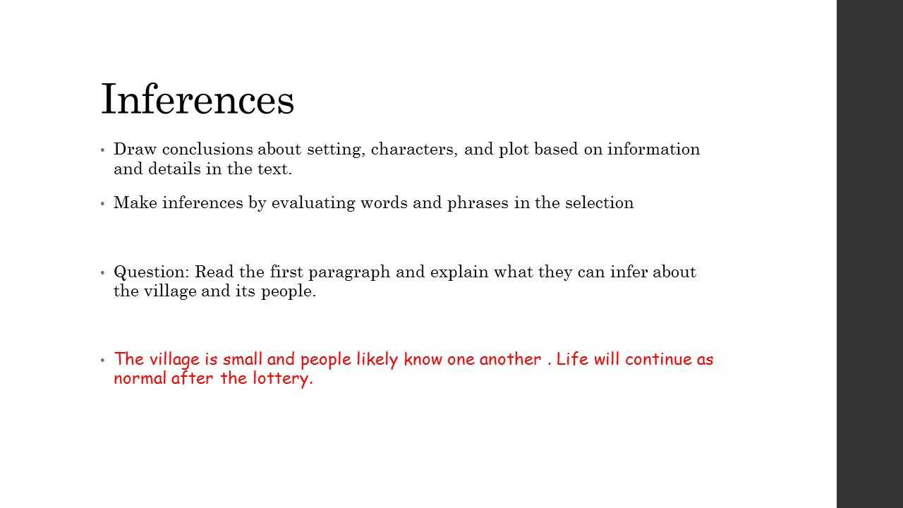 Inferences draw conclusions about setting characters and plot 1 inferences buycottarizona