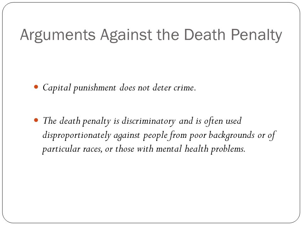 Thesis statement for a research paper on the death penalty