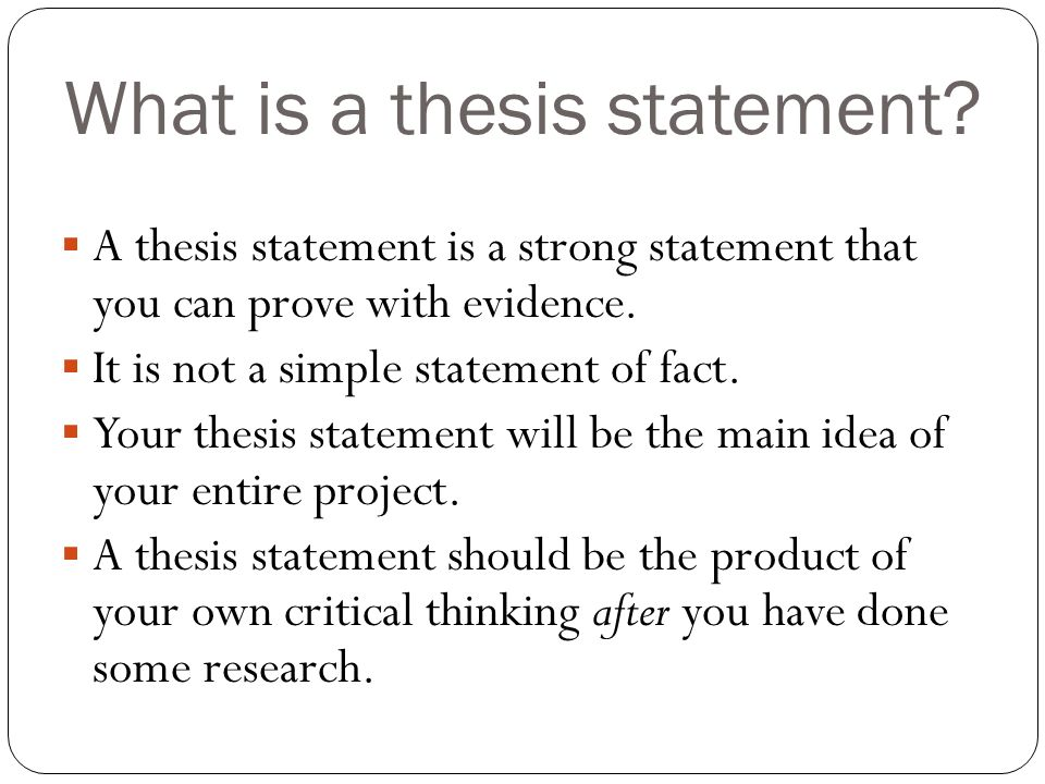 what a thesis is not