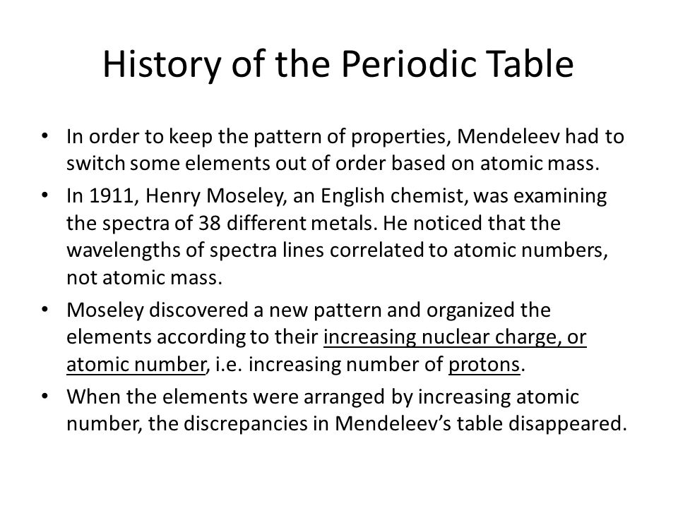 history of the periodic table - Periodic Table Without Atomic Number