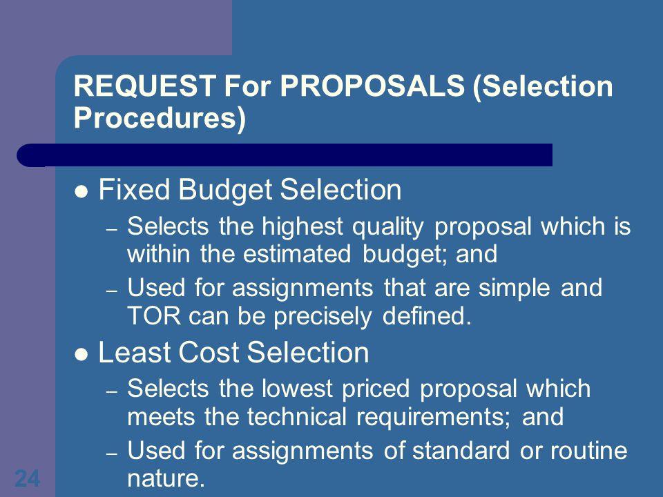 The Procurement Process Procurement Methods Provisions On