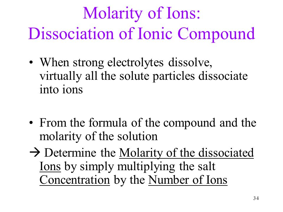 how to find the number of ions in a solution