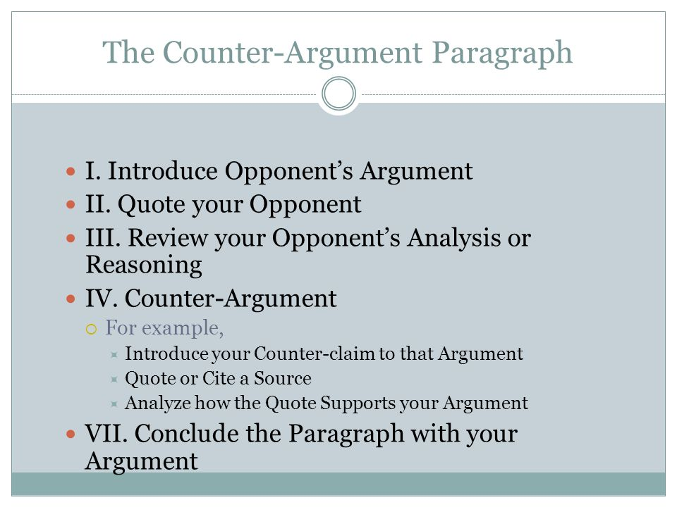 counter arguments in an essay Counter arguments are frequently used in academic essays for example, an essay arguing that certain parts of the countryside should be protected from commercial development might argue against itself by citing the benefits of development.