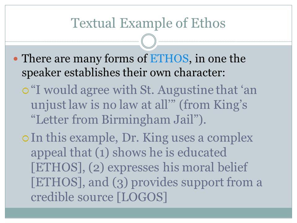 Ethos Example In Letter From Birmingham Jail