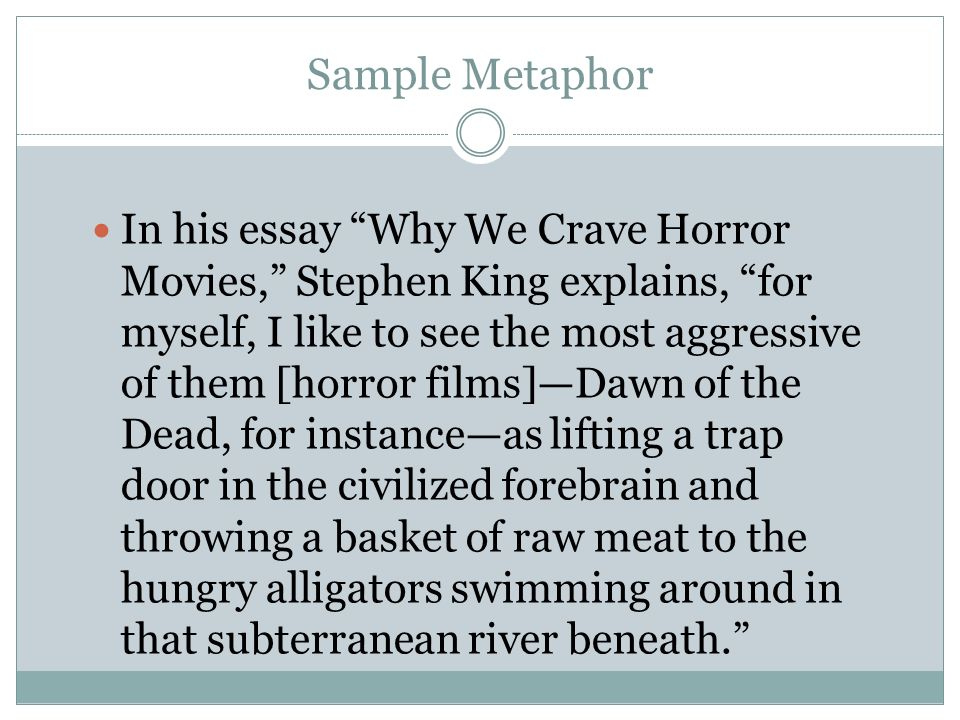 what type of essay is why we crave horror movies by stephen king