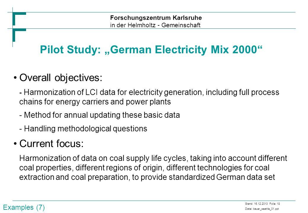 """Pilot Study: """"German Electricity Mix 2000"""