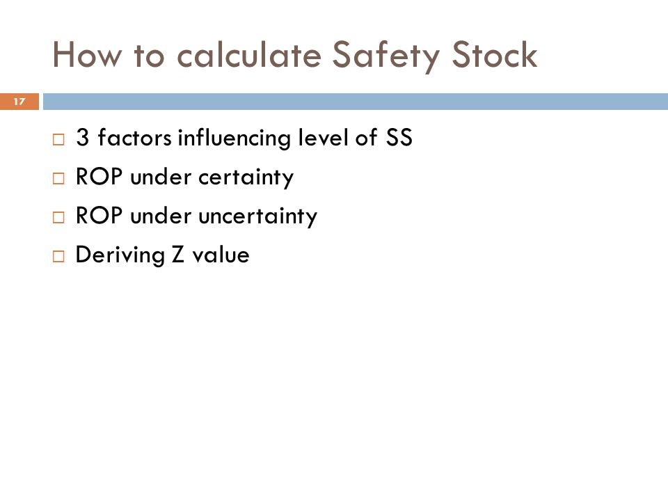 calculating safety stock