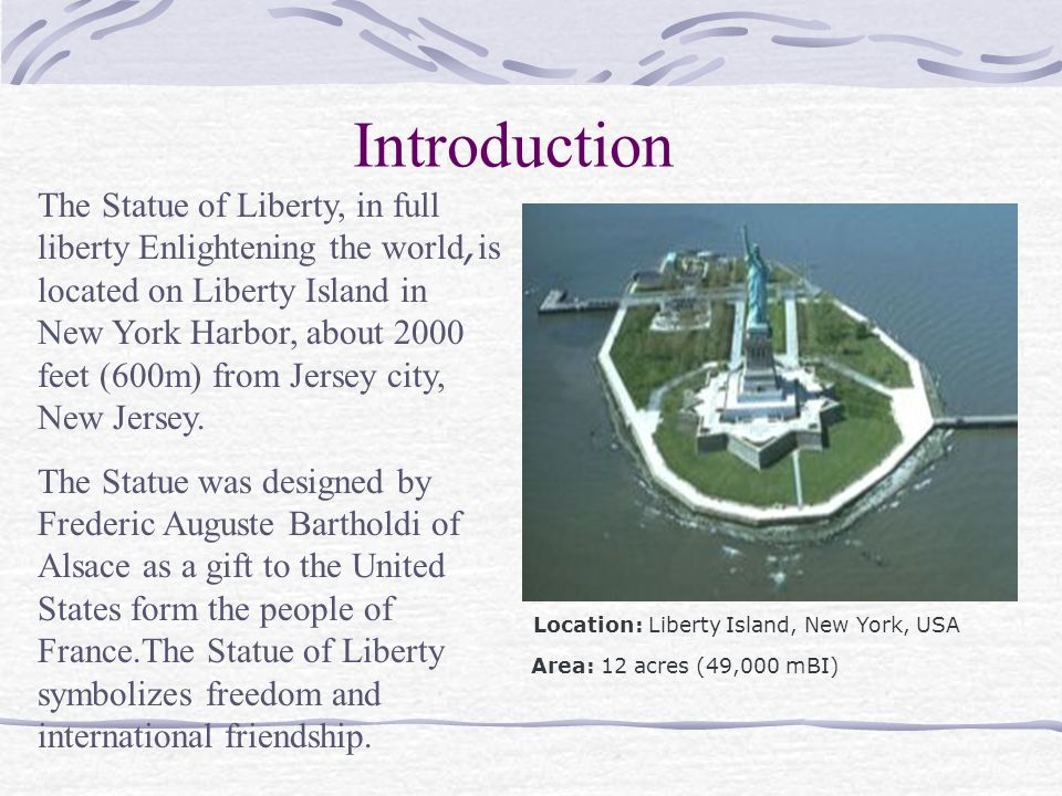 """an introduction to the statue of liberty enlightening the world The statue of liberty: icon of freedom and hope  introduction from the time of its  (officially known as """"liberty enlightening the world""""),."""