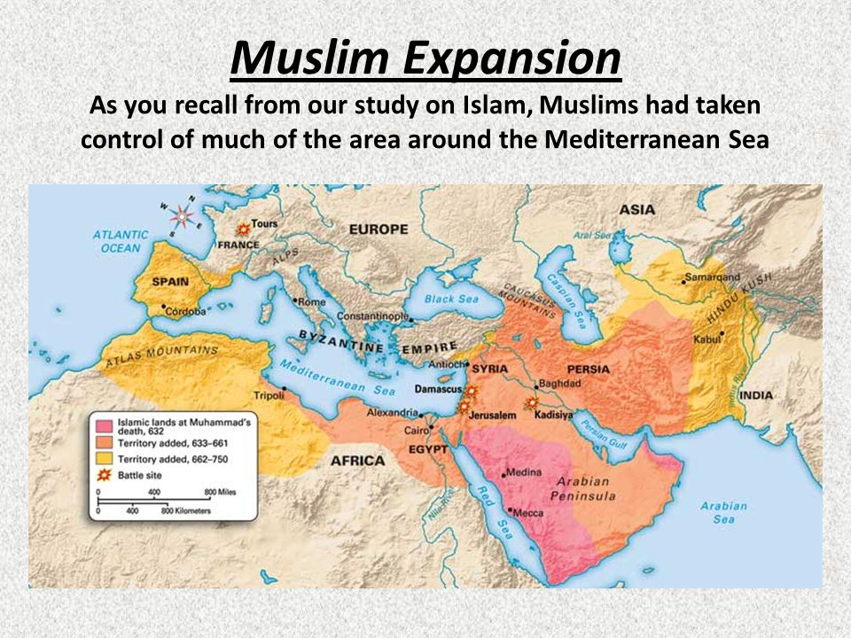 Muslim Expansion As you recall from our study on Islam, Muslims had taken control of much of the area around the Mediterranean Sea