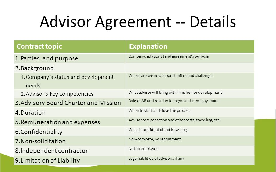 Advisory Board Agreement Template - Apigram.Com