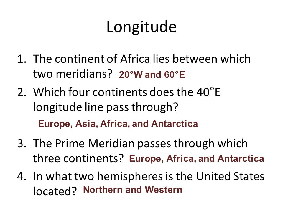 Latitude longitude ppt video online download longitude the continent of africa lies between which two meridians sciox Choice Image