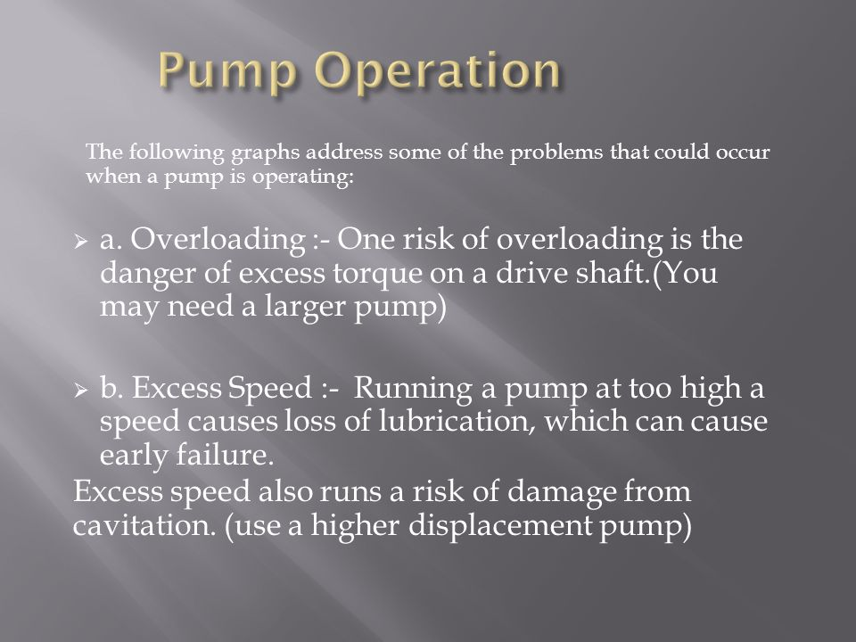 Pump Operation The following graphs address some of the problems that could occur when a pump is operating: