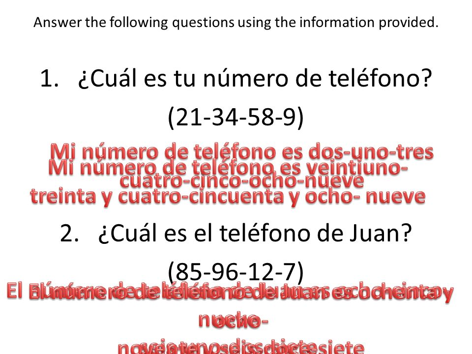 Answer the following questions using the information provided.