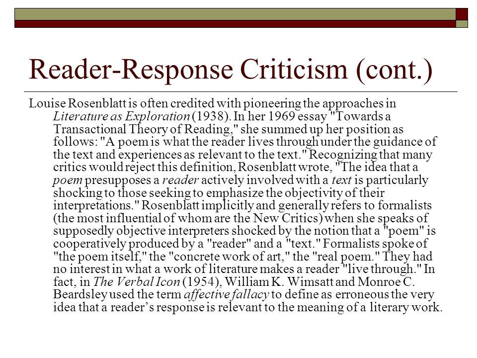 reader response research paper Research paper topics in his essay on reader-response criticism reader-response critics advocated the primacy of a reader's response to the text.