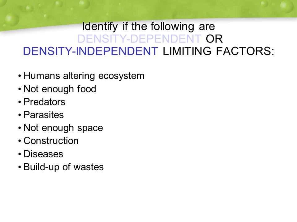 Density Dependent Limiting Factors Examples