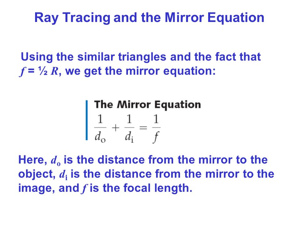 Geometrical optics ppt video online download for Mirror formula