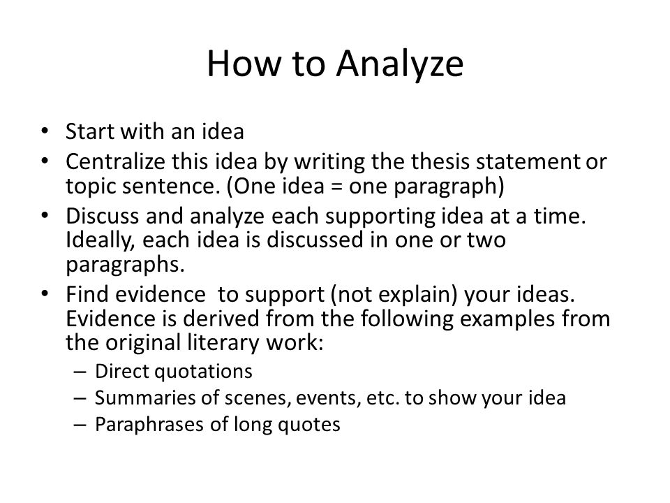 how to start an analysis essay How to write an analysis of theme  of course, the analysis is incomplete, but it shows how a theme analysis might start posted on august 10, 2007 december 4, 2008 author dr davis categories literature prep, genres, etc, papers: models and exercises tags literary analysis.