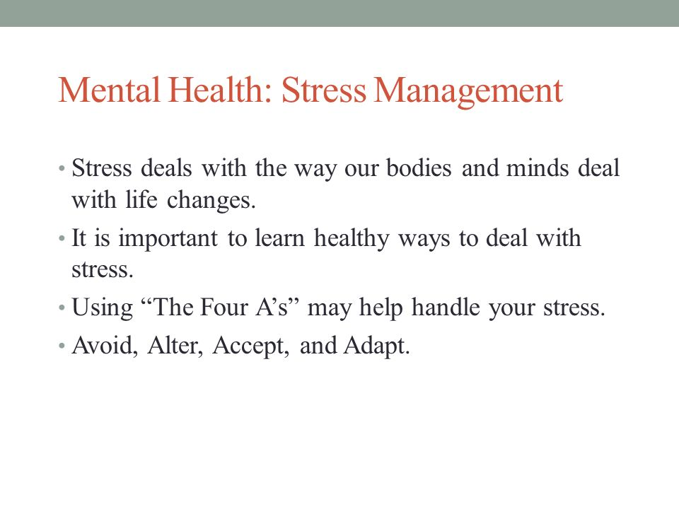 Understanding and Dealing With Stress