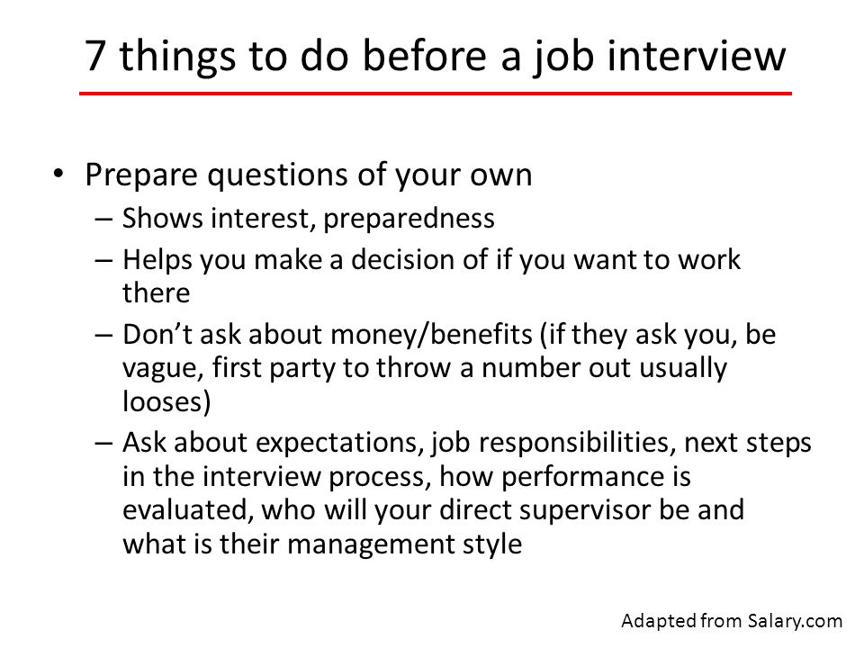 things to do for a job interview