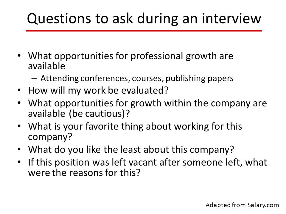 Questions to ask about career