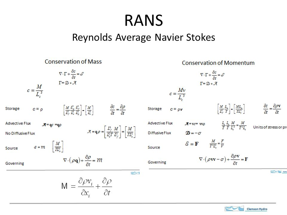 reynolds averaged navier stokes rans The reynolds-averaged navier-stokes (rans) equations represent transport  equations for the mean flow quantities only, with all the scales of the turbulence.