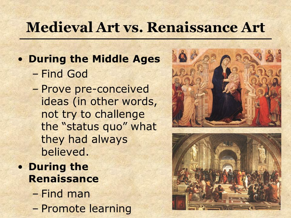 comparing renaissance and middle ages What is the difference between middle ages and renaissance middle ages is static unlike the renaissance which is fast paced with many technological changes.