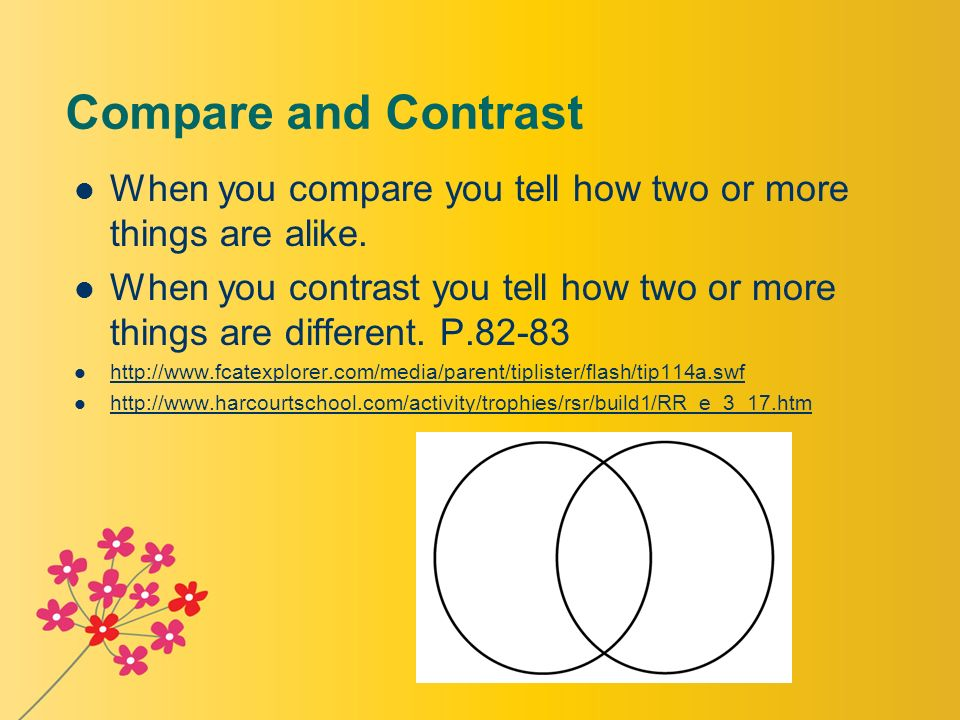 compare and contrast between two teachers Compare and contrast using venn diagram, miss students will compare and contrast two differences between the two characters, the teacher will call on.