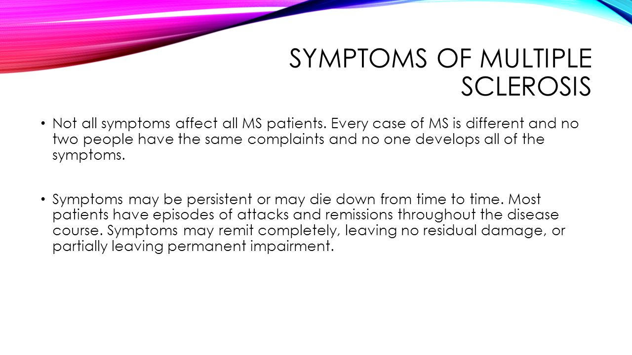 the symptoms of multiple sclerosis