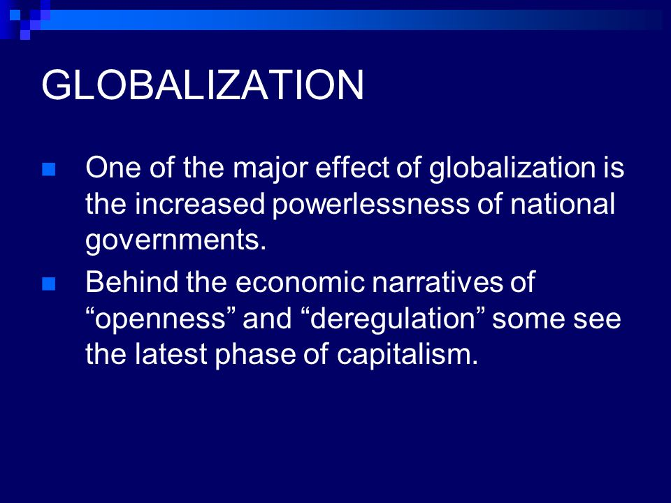 The effects of globalization on world governments