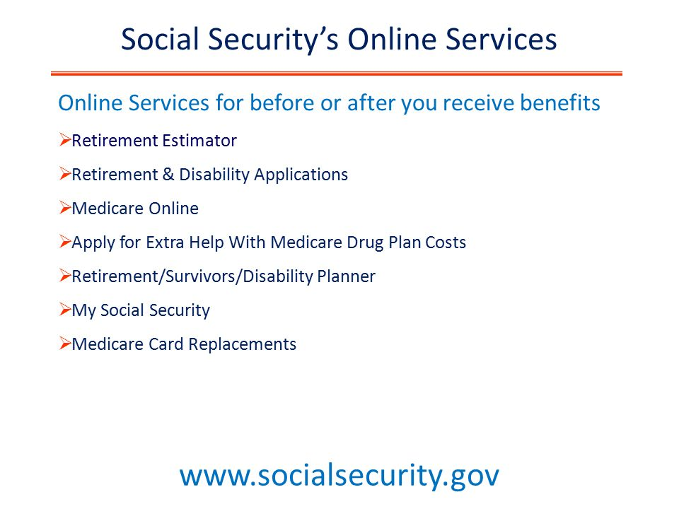Social security ppt download 48 social securitys online services ccuart Choice Image