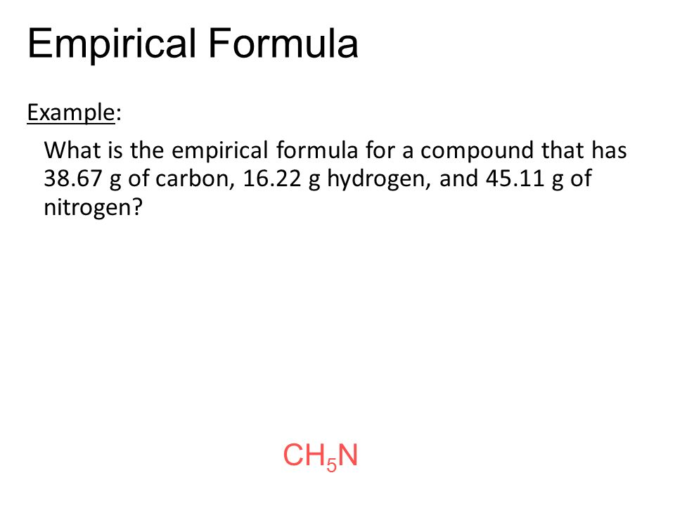 laboratory 3 empirical formula of an Page i-31/ determination of an empirical formula determination of the empirical formula one of the fundamental statements of the atomic theory is that elements combine in simple whole number ratios.