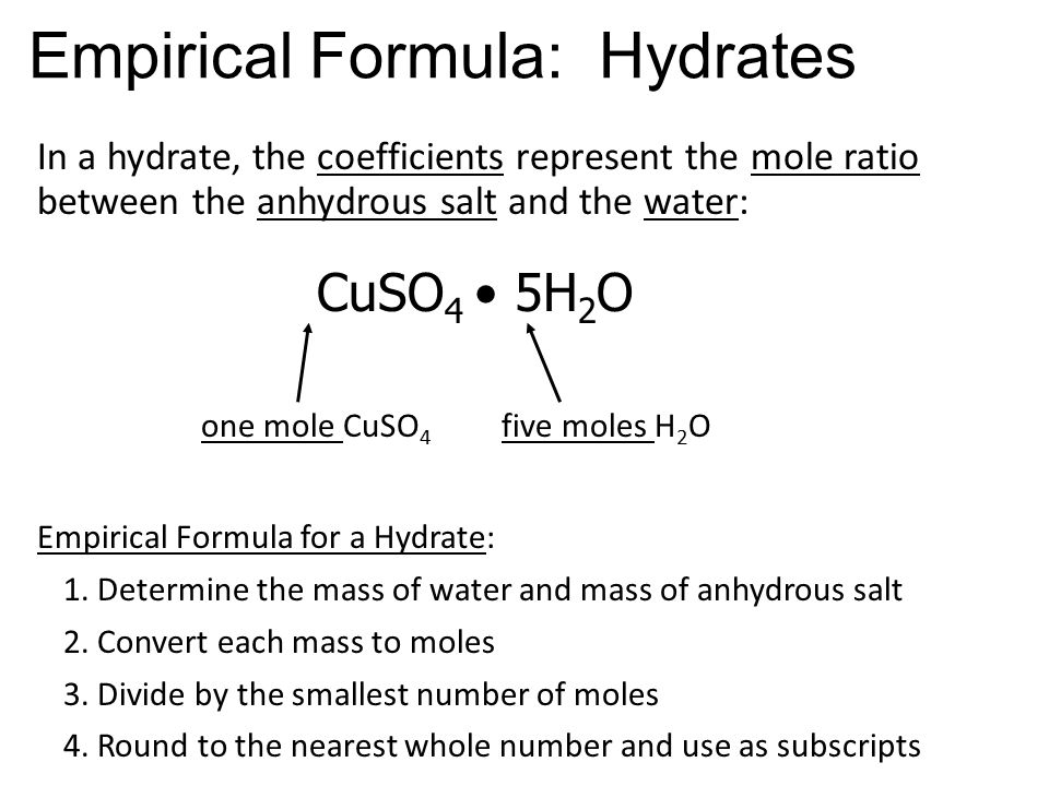 determination of water in a hydrate 56 experiment 4: composition of a hydrate in this experiment a weighed sample of an unknown hydrate will be heated and the mass of water lost on heating will be determined.