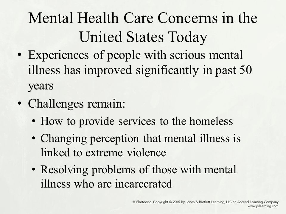 an examination of the state of mental patients care in united states (a) a person with mental illness in this state has the rights, benefits, responsibilities, and privileges guaranteed by the constitution and laws of the united states and this state (b) unless a specific law limits a right under a special procedure, a patient has:.