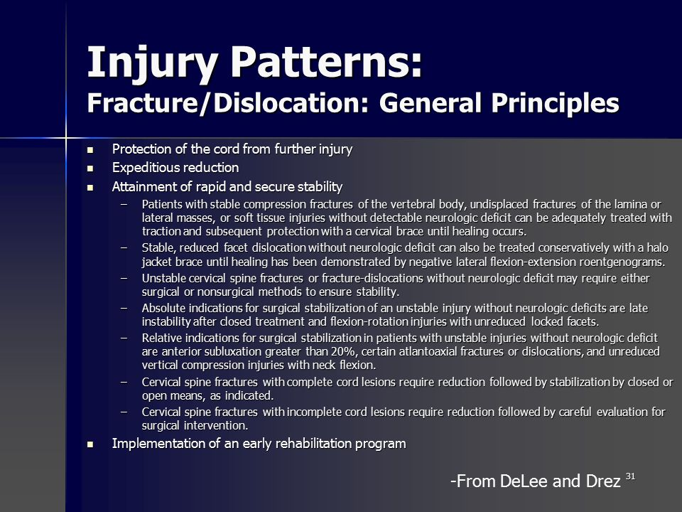 early vs late reduction of cervical spine injury Upper cervical spine fractures and spinal cord injuries can affect the neurologic   be obtained before performing a reduction procedure (closed or operative) in.