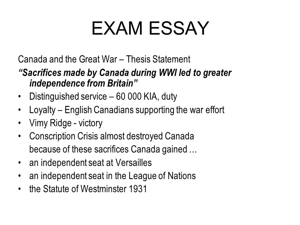exam essay ppt  exam essay and the great war thesis statement