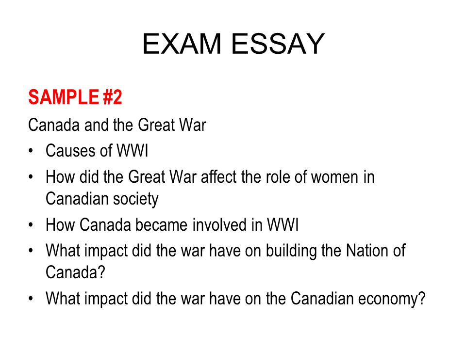 exam essay ppt  exam essay sample 2 and the great war causes of wwi