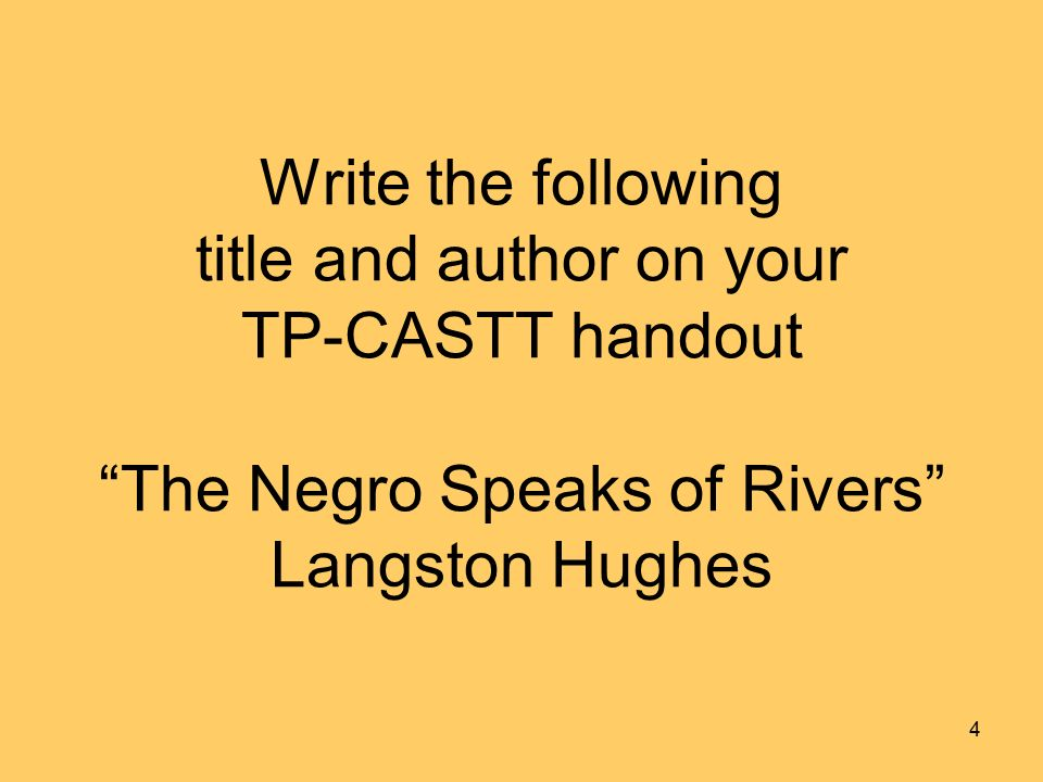 an analysis of langston hughes the negro speaks of river Start studying the negro speaks of rivers  is that he grows up near the euphrates river and by the end of his life  reason for langston hughes to write .